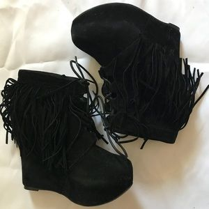 Black Fringe Wedge Boots